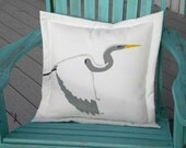 "Outdoor pillow Great Egret white 20"" bird birdwatching ornithology feather birding wing heron Crabby Chris Original"