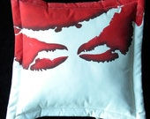 """Outdoor pillow ATTACK of the CRAB Monsters RED 20"""" (50cm) B movie Roger Corman claws crustacean Crabby Chris Original copyrighted design"""