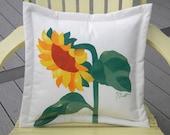 """Outdoor pillow sunflower painted 20"""" gardening horticulture seeds birding farm petal sun Van Gogh Crabby Chris Original"""