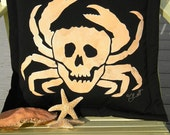 "Outdoor pillow Crabbers of the Caribbean 20"" skull pirate crab Jolly Roger crustacean claws crabbing seafood Crabby Chris Original"