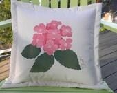 "Outdoor pillow HYDRANGEA PINK 20"" gardener gardening flower green thumb tree painted garden patio deck Crabby Chris Original"
