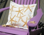"Outdoor pillow FINGER STARFISH two color sea star 20""x20"" (50cm) coastal beach cottage Crabby Chris shelling seashore seashell"
