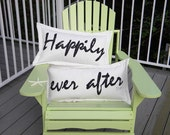 Outdoor pillows HAPPILY EVER AFTER pair engagement wedding nuptials marriage bride groom all weather Crabby Chris Original