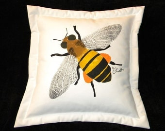 "Outdoor pillow HONEY BEE 20"" (50cm) painted garden insect pollination hive gardening pollen beekeeper queen Crabby Chris Original"