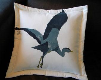 "Outdoor pillow GREAT BLUE HERON painted 20"" bird coastal marsh seashore lake shoreline beach ocean sea Crabby Chris Original"