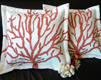 Outdoor pillow coral SEA FAN sea whip coastal painted Gorgonian marine SCUBA beach cabin shoreline seashore cabin cottage shell