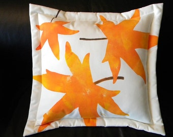 "Outdoor pillow leaf autumn leaves 20"" (50cm) leaf painted orange botanical sweetgum liquidamber tree indoor outdoor all weather patio"