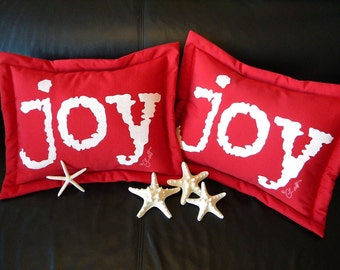 Outdoor pillow Christmas joy painted red white 14x17 lumbar holiday celebration joyous joy to the world Crabby Chris Original