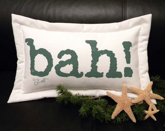 "BAH outdoor pillow 11""x17"" painted humbug Christmas holiday curmudgeon grump Scrooge Whiffenpoof sheep wool Crabby Chris Original"