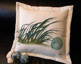 "Outdoor pillow glass float 20"" (50cm) coastal beach cabin vacation seashore Japanese fishing shelling seashore dunes Crabby Chris Original"