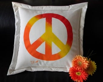 """Outdoor pillow PEACE SYMBOL 20"""" (50cm) antiwar dove sixties baby boomer disarmament Woodstock indoor outdoor give peace a chance"""