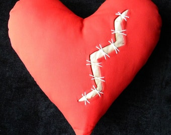 "Repaired heart pillow 17"" Valentine red injured stitches damaged mended broken scarred heart of gold silk keloids heartbroken Crabby Chris"