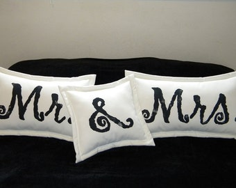 Mr. & Mrs. pillows wedding bridal shower Valentine bride groom marriage anniversary engagement outdoor pillows ampersand Crabby Chris