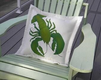 "Outdoor pillow LOBSTER GREEN 20"" (50cm) emerald chartreuse seashore beach Australian chef seafood crustacean seaside Crabby Chris Original"