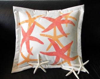 "Outdoor pillow 20"" HAPPY SEA STARS starfish sherbet echinoderm orange mango coastal beach cabin Crabby Chris Original"