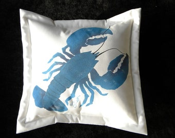 "Outdoor pillow BLUE LOBSTER 20"" Atlantic New England coastal marine seafood crustacean claws gourmet gourmand chef Crabby Chris Original"