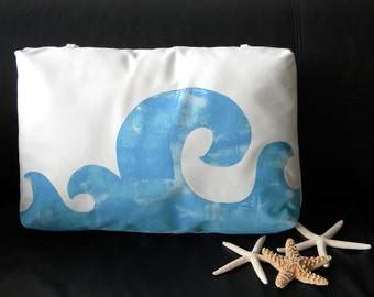 "Waves poolside pillow 17"" painted blue lumbar with ties surfing mediterranean coastal beach chaise indoor outdoor Crabby Chris Original"