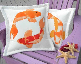 "ETSY FRONT PAGE koi pillow 20"" (50cm) all weather orange red pond Nichikigoi carp brocaded Japanese Crabby Chris Original"