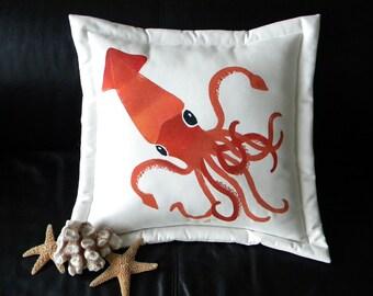 "Outdoor pillow COLOSSAL SQUID ORANGE 20"" (50cm) invertebrate kraken calamari tentacles Humboldt Captain Nemo Crabby Chris"