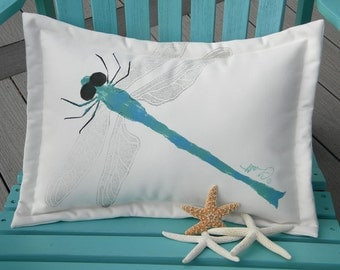 "Outdoor pillow DRAGONFLY 15""x20"" blue aqua insect outdoor wildlife cushion garden bench gardening Crabby Chris Original"