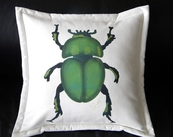 "Outdoor pillow beetle 20""x20"" GREEN SCARAB dung beetle coleoptera scarabaeus The Gold-Bug insect entomology Crabby Chris Original"