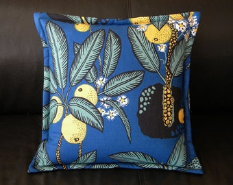 "Genuine Josef Frank ""NOTTURNO"" fabric silkscreened textile Swedish throw pillow 15"" Svenskt Tenn interior fabric to die for"