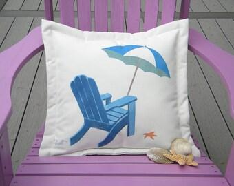 "Outdoor pillow 20"" BEACH UMBRELLA blue white coastal sand Adirondack chair tropical vacation sea star Crabby Chris Original"