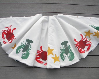 "LIMITED EDITION Lobster crab sea star 52"" (137cm) Christmas tree skirt beach starfish shelling Blue Crab lobstah Crabby Chris Original"
