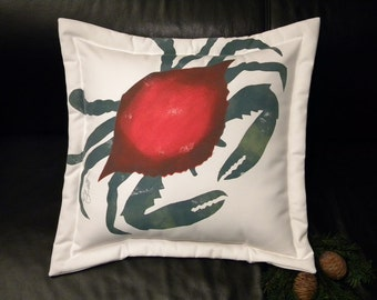 """Outdoor pillow BLUE CRAB CHRISTMAS colors 20"""" red green seafood ocean crustacean yachting sailing"""