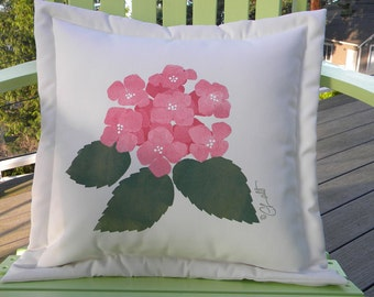 "Outdoor pillow HYDRANGEA 20"" gardener gardening flower green thumb tree painted garden patio deck Crabby Chris Original"