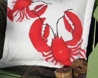 Outdoor pillow BIG LOBSTER, LITTLE lobster 20x20 (50cm) coastal lobstah red crustacea gourmand chef nautical seafood marine Crabby Chris
