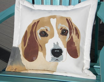 "Outdoor pillow BEAGLE 20"" (50cm) dog best friend hound canine family pet tricolor termite sniffer AKC Snoopy Crabby Chris Original"