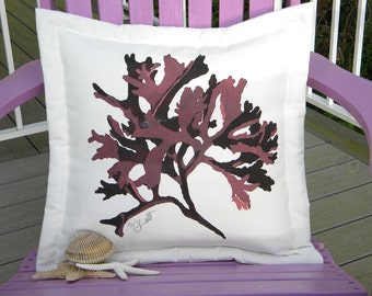 "Outdoor pillow SEAWEED RED LAVER 20"" sea lettuce kelp algae aubergine merlot burgundy coastal beach ocean Crabby Chris Original"