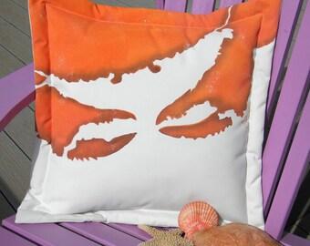 """Outdoor GYOTAKU CRAB SQUARE pillow beach Dungeness gyotaku pillow 20""""x20"""" (50cm) coastal crustacean Crabby Chris Original copyrighted design"""