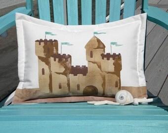 "Outdoor pillow SAND CASTLE 15""x20"" (38x50cm) lumbar beach ocean coastal seashore shelling beachcombing Crabby Chris Original"