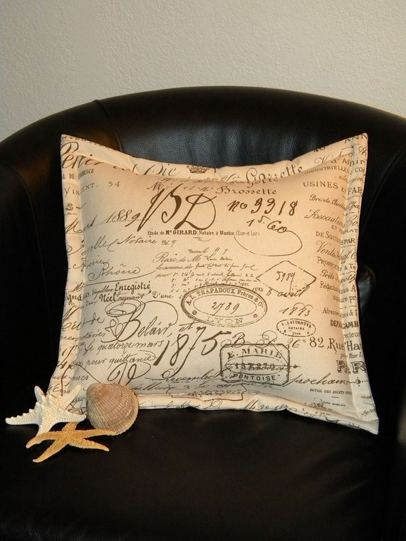 "French handwriting pillow ecru 17"" antique appearance document manuscript sepia chocolat handwritten permanship We'll always have Paris"