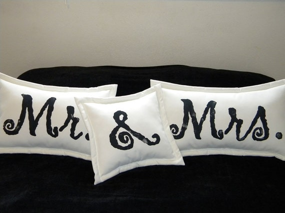 Mr. & Mrs. pillows wedding bridal shower Valentine bride groom marriage anniversary engagement outdoor pillows ampersand Crabby Chris