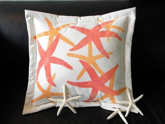 "Outdoor pillow 20"" happy sea stars starfish sherbet echinoderm orange mango coastal beach cabin SCUBA Crabby Chris Original"