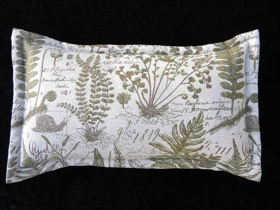 "Fern silkscreened pillow pure linen 12""x22"" lumbar nature forest botanical antique moss snail moth rain forest firstfridayartwalk"