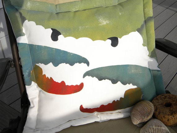 "Outdoor pillow SHE CRAB 20"" Revenge of the Blue Crab girl claw seafood crabby canterkerous ocean coastal marine beach pinchers"