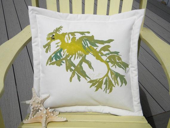 "Outdoor pillow LEAFY SEA DRAGON pillow 20"" painted seahorse pipefish seaweed ocean coastal beach Australia Crabby Chris Original"