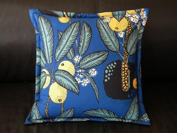 "Genuine Josef Frank ""NOTTURNO"" fabric silkscreened textile Swedish throw pillow 15"" Svenskt Tenn interior fabric to die for"