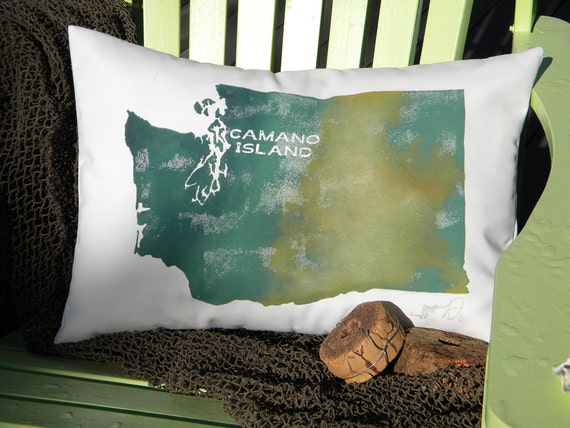 YOUR TOWN or HEART on Washington State outdoor pillow 14x20 green Pacific Northwest Seattle God's country customized Crabby Chris Original