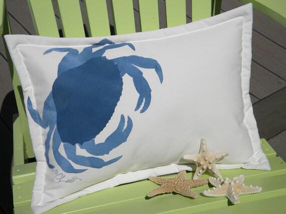 "Outdoor pillow CRAB LUMBAR DUNGENESS beach painted 14""x20"" green ships tomorrow seashore coastal crustacean west coast Crabby Chris Original"