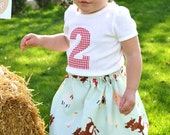 Girls Farm Party Birthday Outfit Skirt and Shirt Barnyard Bash Set handmade by sweet threads