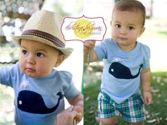 Boys Preppy Whale Applique Party Shirt in Light Blue