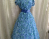 SALE 40% off  -  1950s Dress Vintage Blue Watercolor Party Frock