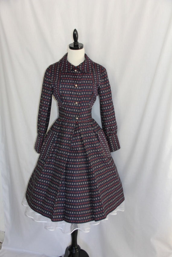 reserved for RosasphinaVintage  - STUNNING 1950's Vintage Navy Blue Coat Dress
