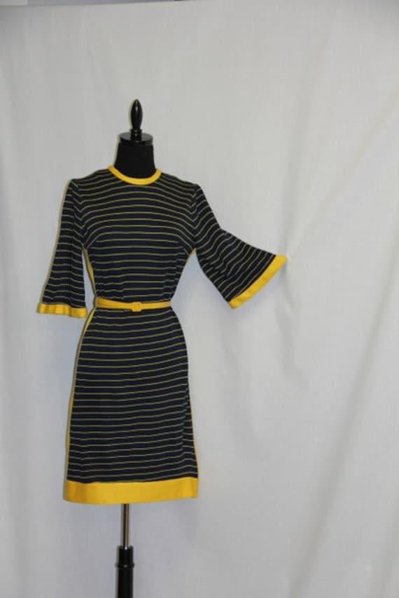 DARLING VINTAGE Dress Navy w Yellow Stripes Preppy Style