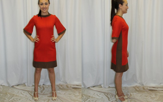 Vintage Jackie O Dress 1960s Classic Color Block